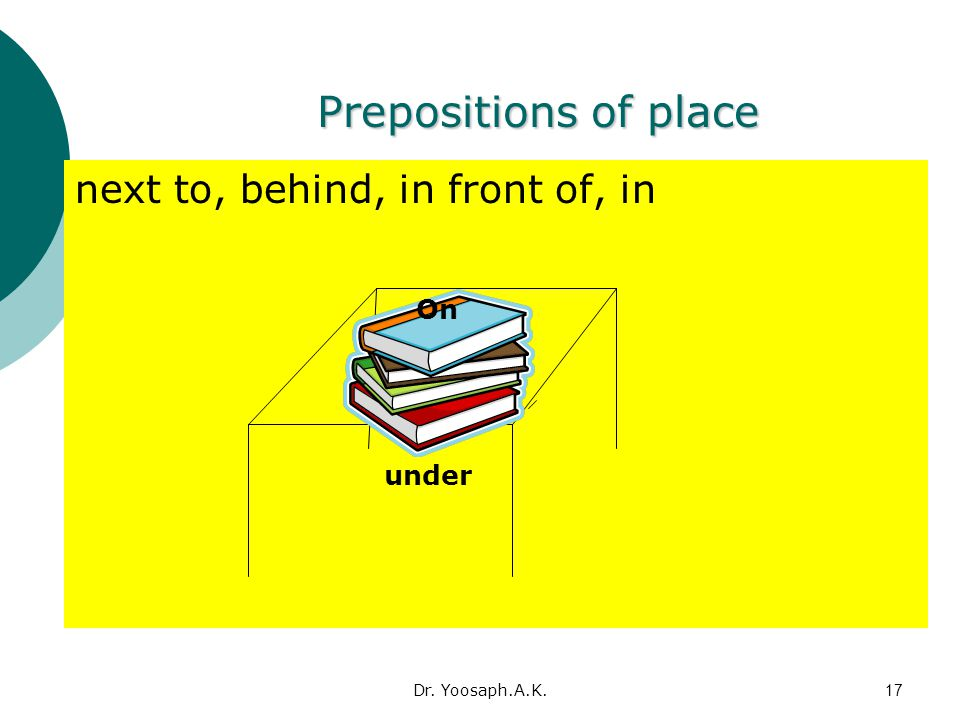 Prepositions of place next to, behind, in front of, in On under