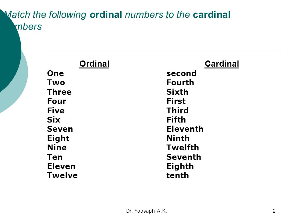 Match the following ordinal numbers to the cardinal numbers