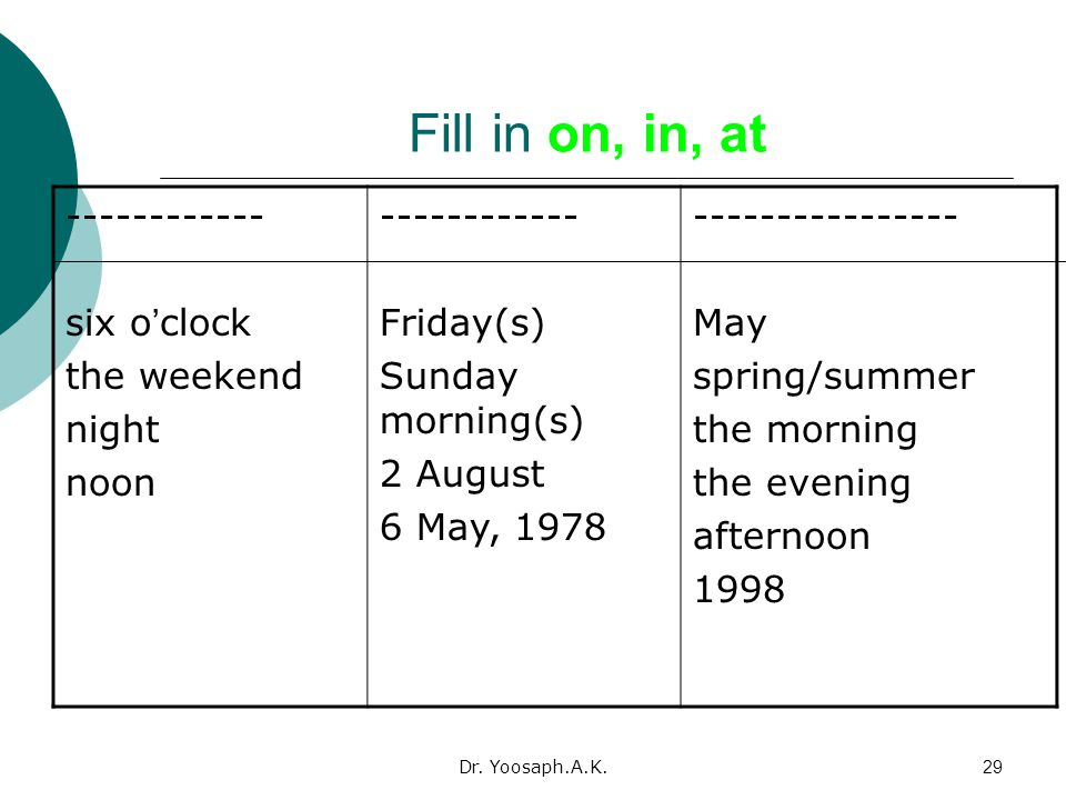 Fill in on, in, at ---------------- May spring/summer the morning