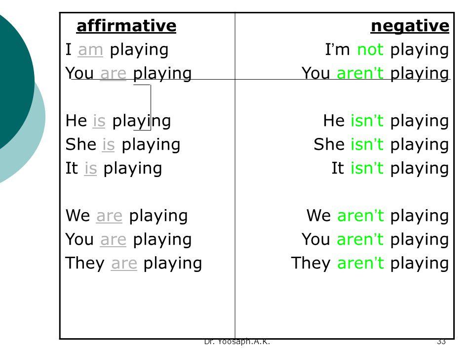 negative I'm not playing You aren't playing He isn't playing