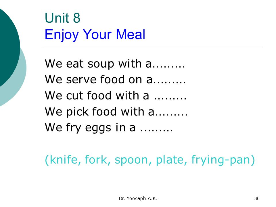 Unit 8 Enjoy Your Meal We eat soup with a……… We serve food on a………