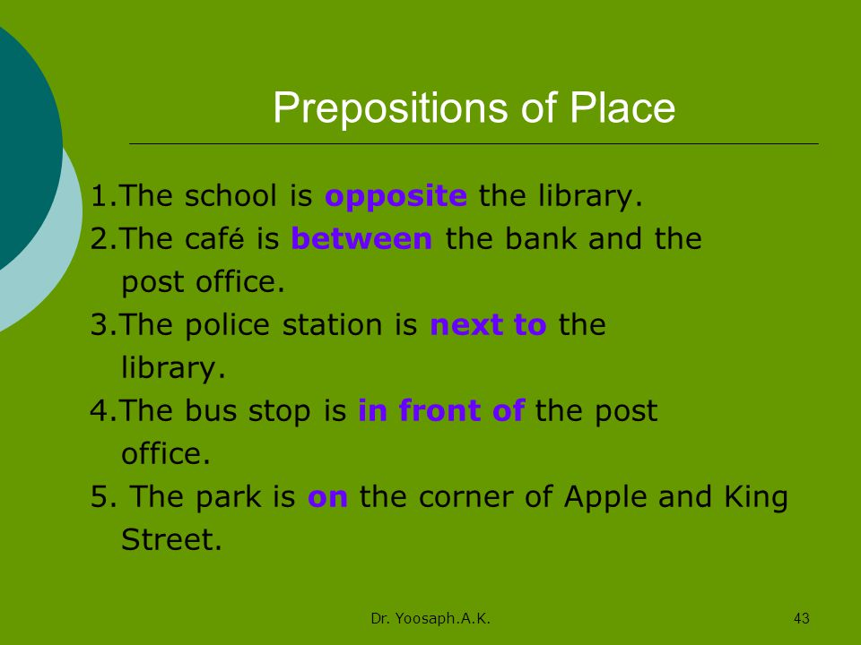Prepositions of Place 1.The school is opposite the library.