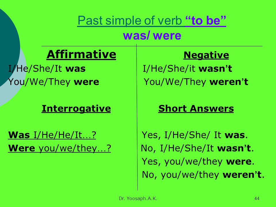 Past simple of verb to be was/ were