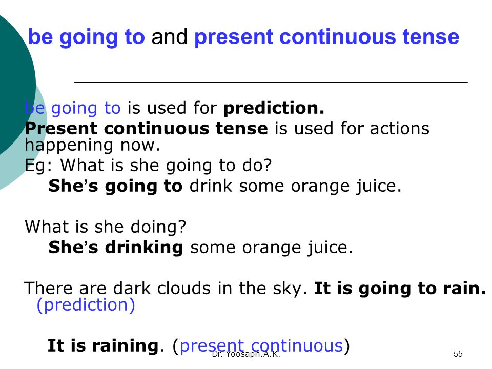 be going to and present continuous tense