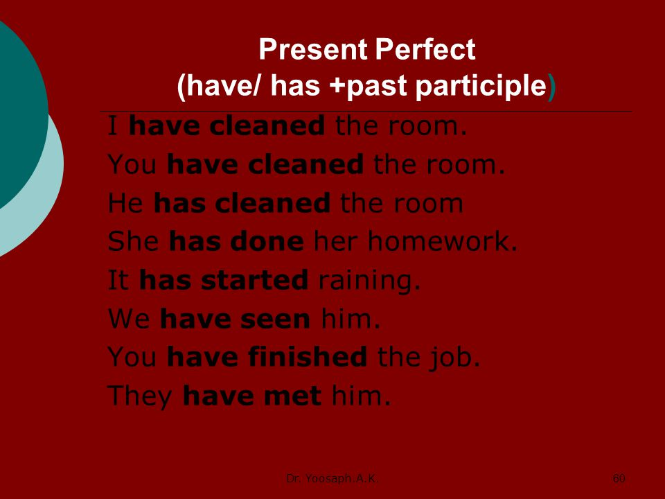Present Perfect (have/ has +past participle)