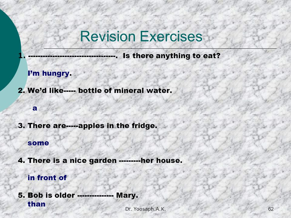 Revision Exercises 1. ------------------------------------. Is there anything to eat I'm hungry.