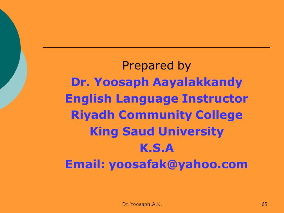 Dr. Yoosaph Aayalakkandy English Language Instructor