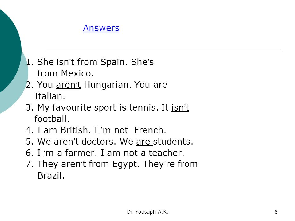 1. She isn't from Spain. She's from Mexico.
