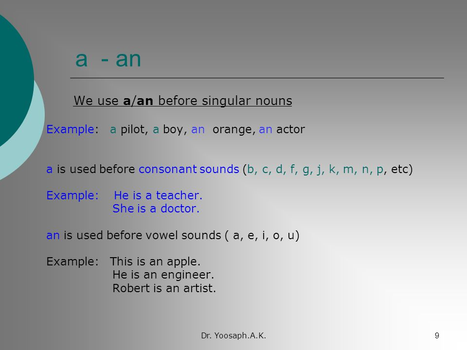 a - an We use a/an before singular nouns