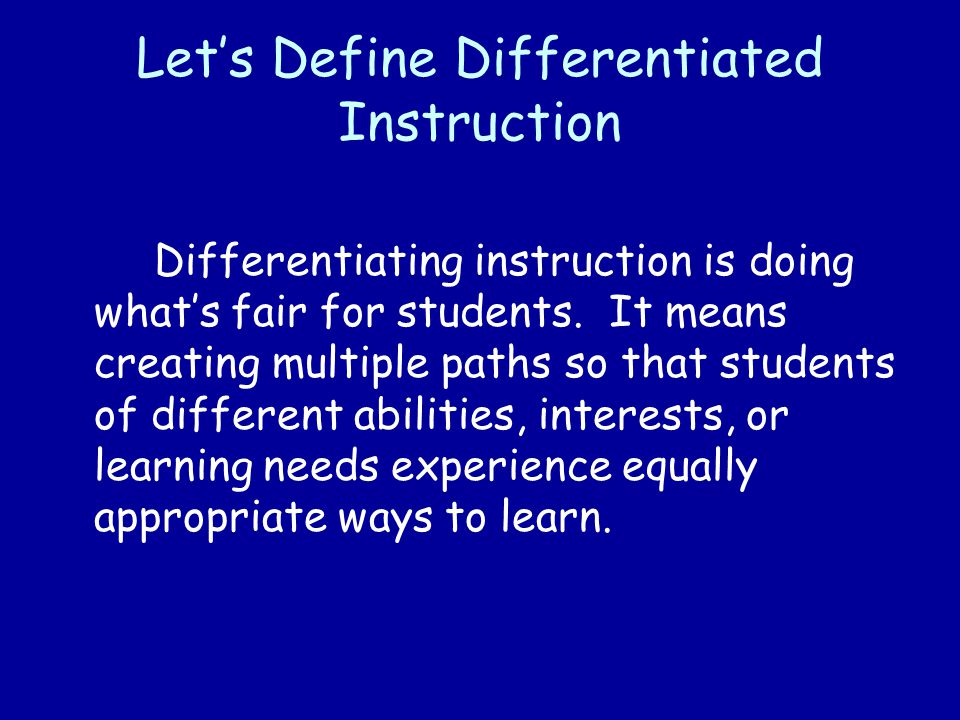 Let's Define Differentiated Instruction