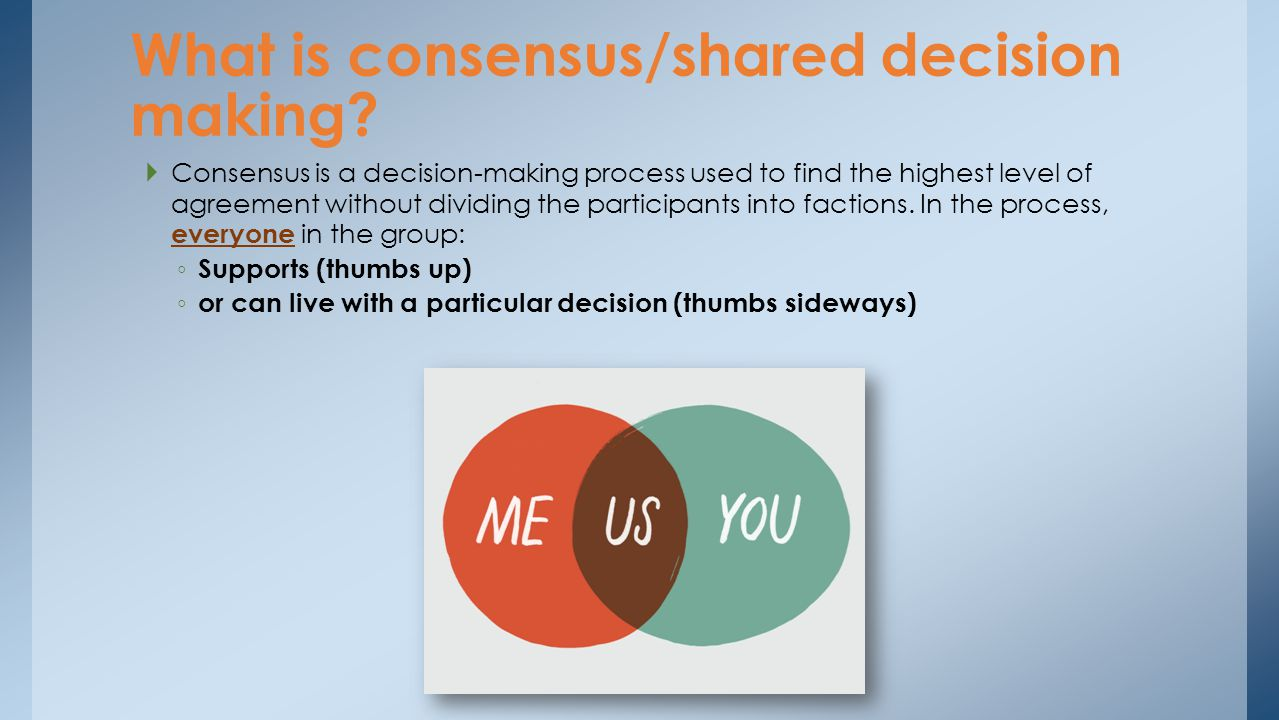 What is consensus/shared decision making