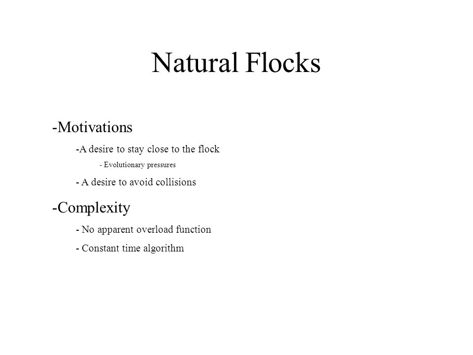 Natural Flocks Motivations Complexity