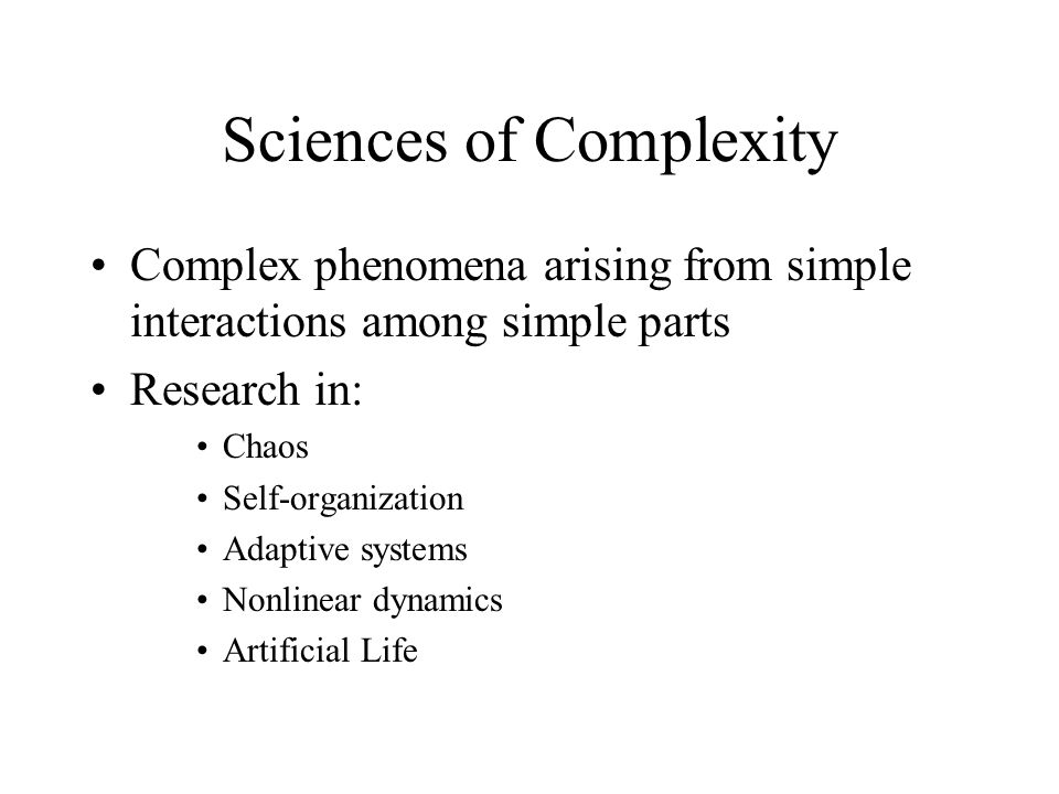 Sciences of Complexity