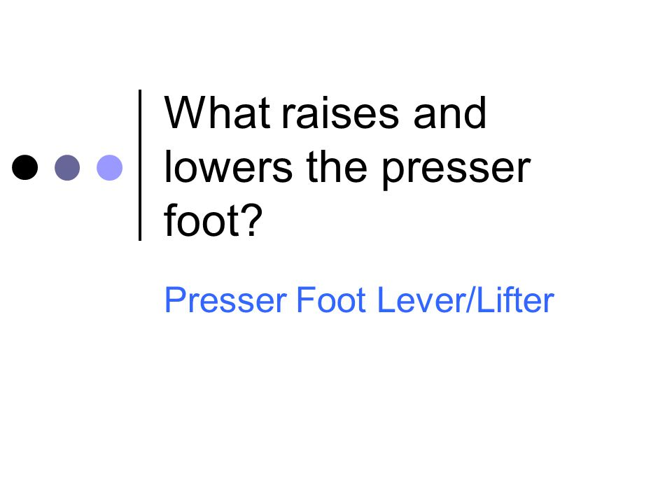What raises and lowers the presser foot
