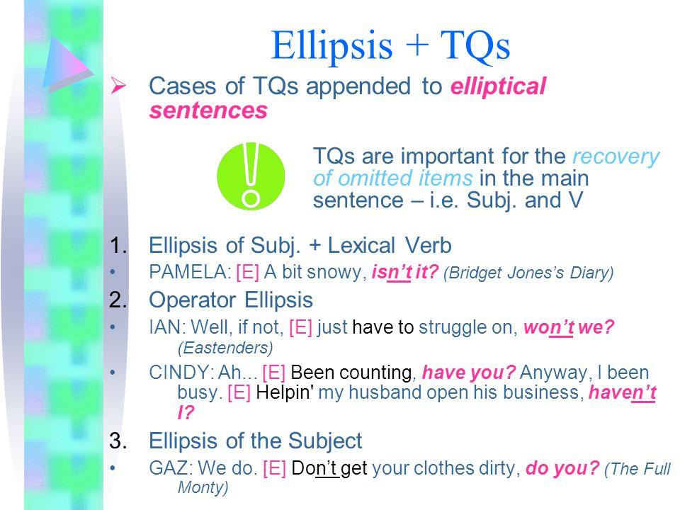 Ellipsis + TQs Cases of TQs appended to elliptical sentences
