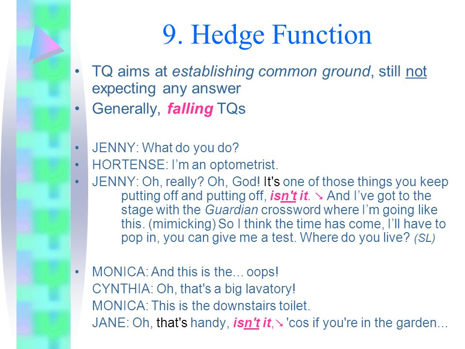 9. Hedge Function TQ aims at establishing common ground, still not expecting any answer. Generally, falling TQs.