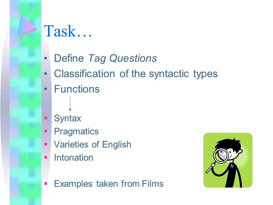 Task… Define Tag Questions Classification of the syntactic types