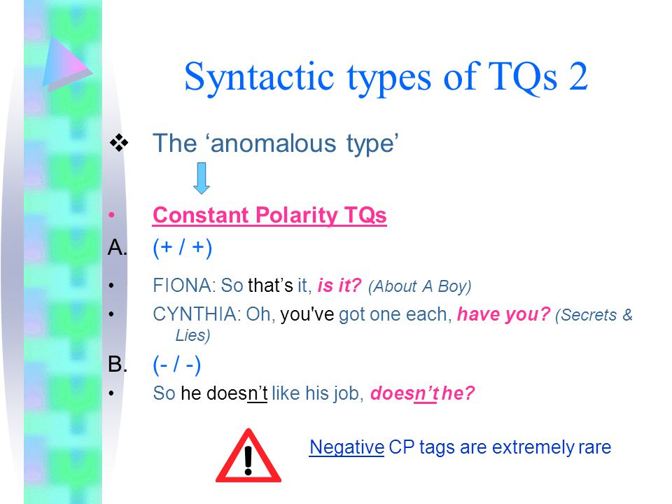 Syntactic types of TQs 2 The 'anomalous type' Constant Polarity TQs