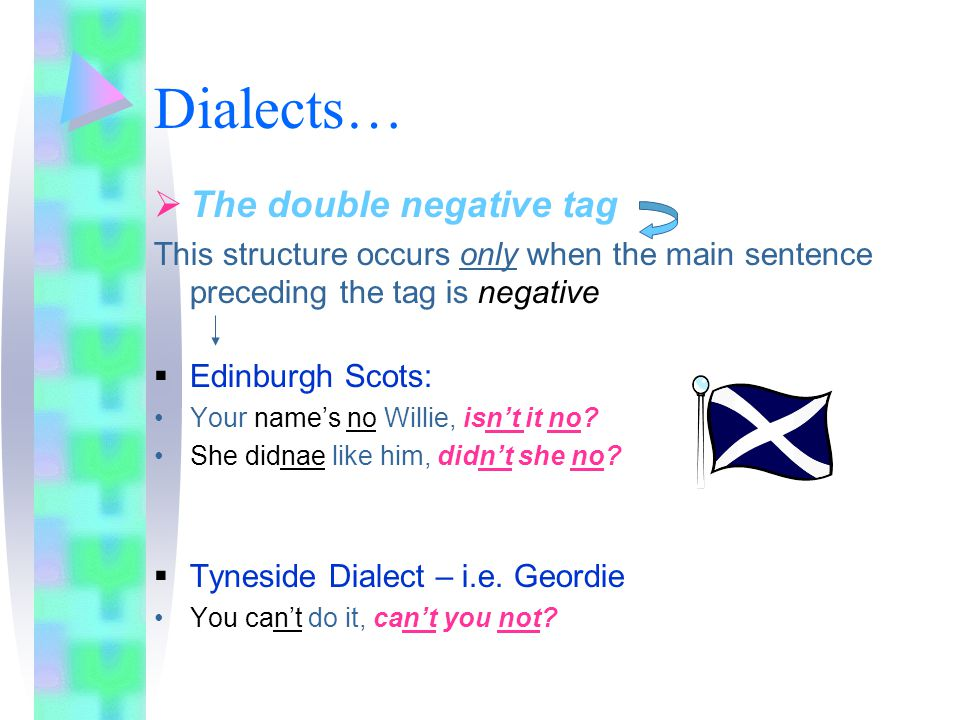 Dialects… The double negative tag