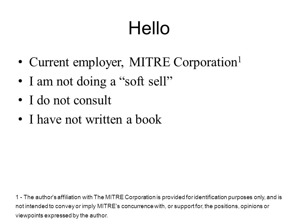 Hello Current employer, MITRE Corporation1
