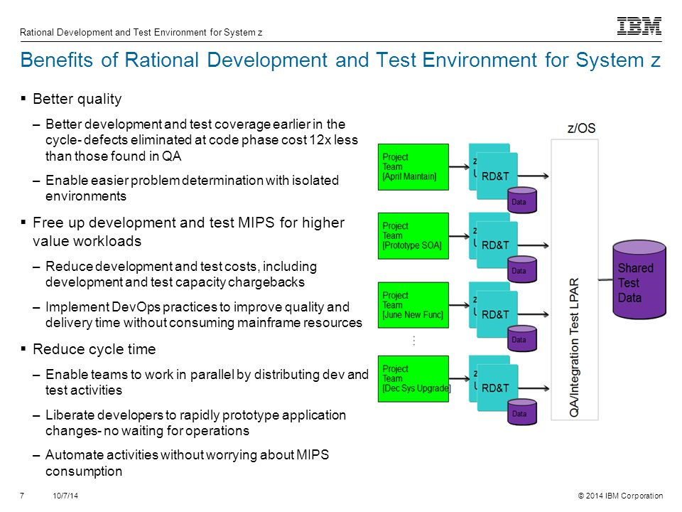 Benefits of Rational Development and Test Environment for System z