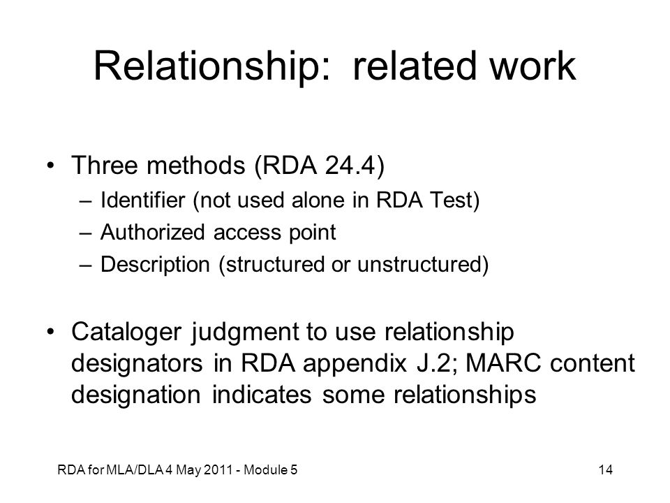Relationship: related work