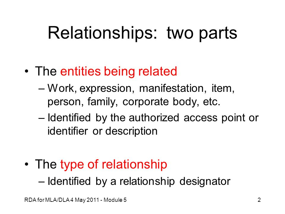 Relationships: two parts