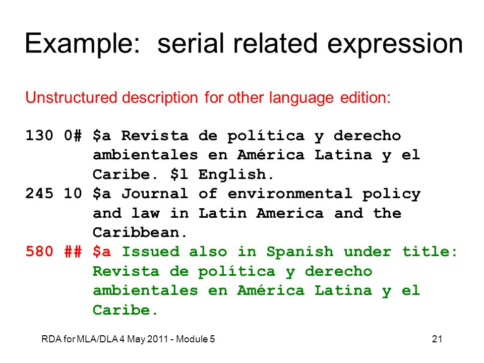 Example: serial related expression