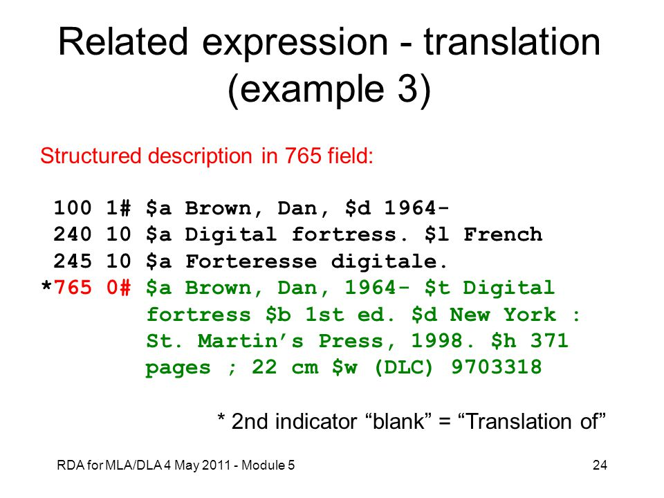Related expression - translation (example 3)