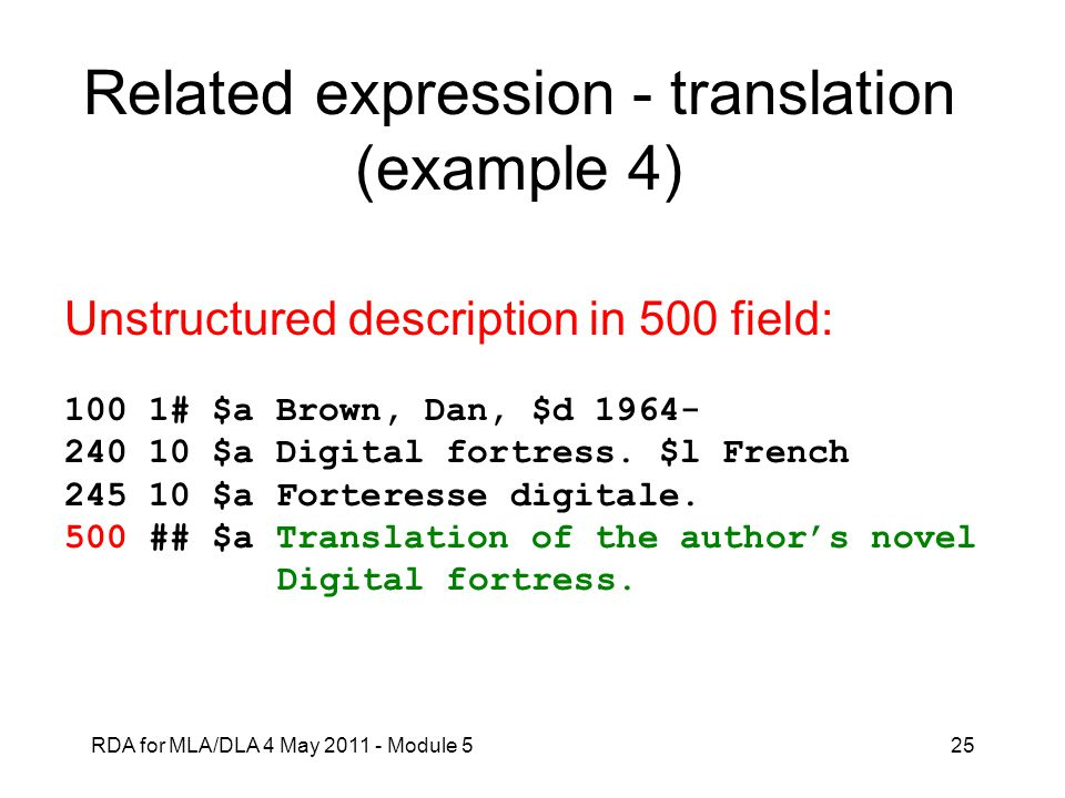 Related expression - translation (example 4)
