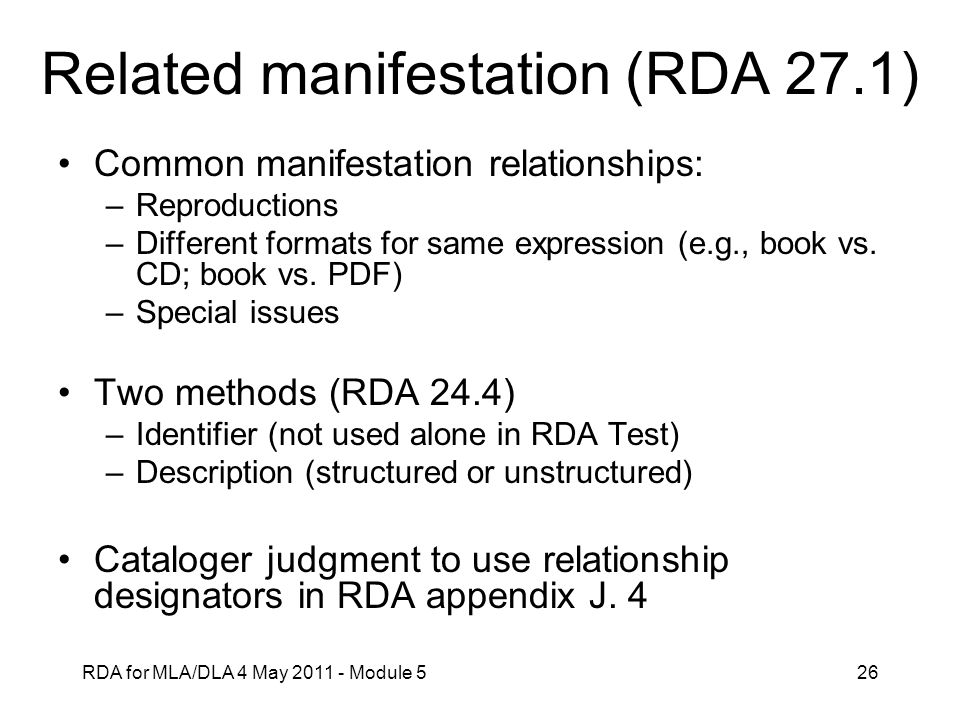 Related manifestation (RDA 27.1)
