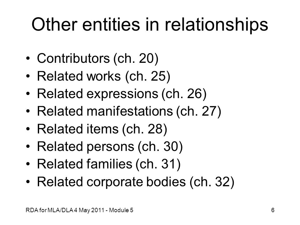 Other entities in relationships