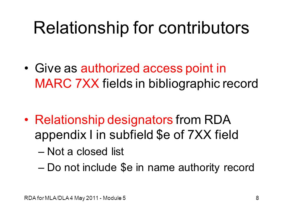 Relationship for contributors