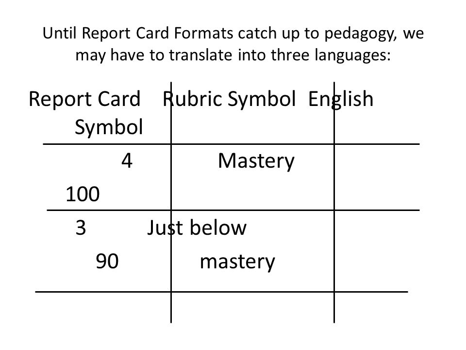 Until Report Card Formats catch up to pedagogy, we may have to translate into three languages: