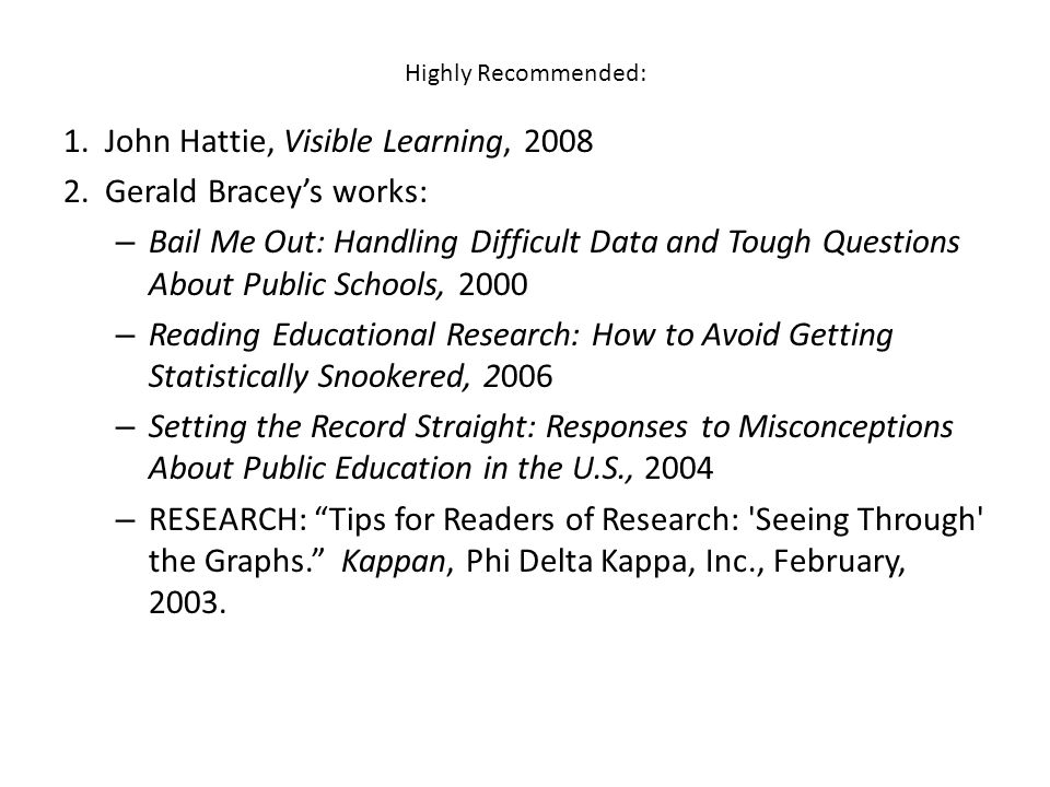 1. John Hattie, Visible Learning, 2008 2. Gerald Bracey's works: