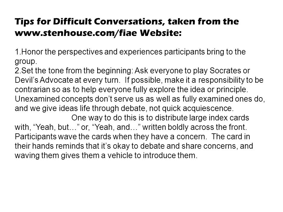 Tips for Difficult Conversations, taken from the www. stenhouse