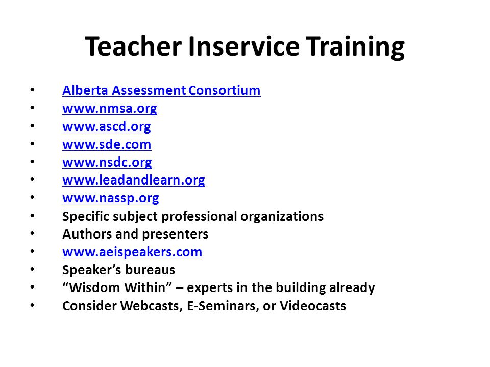 Teacher Inservice Training