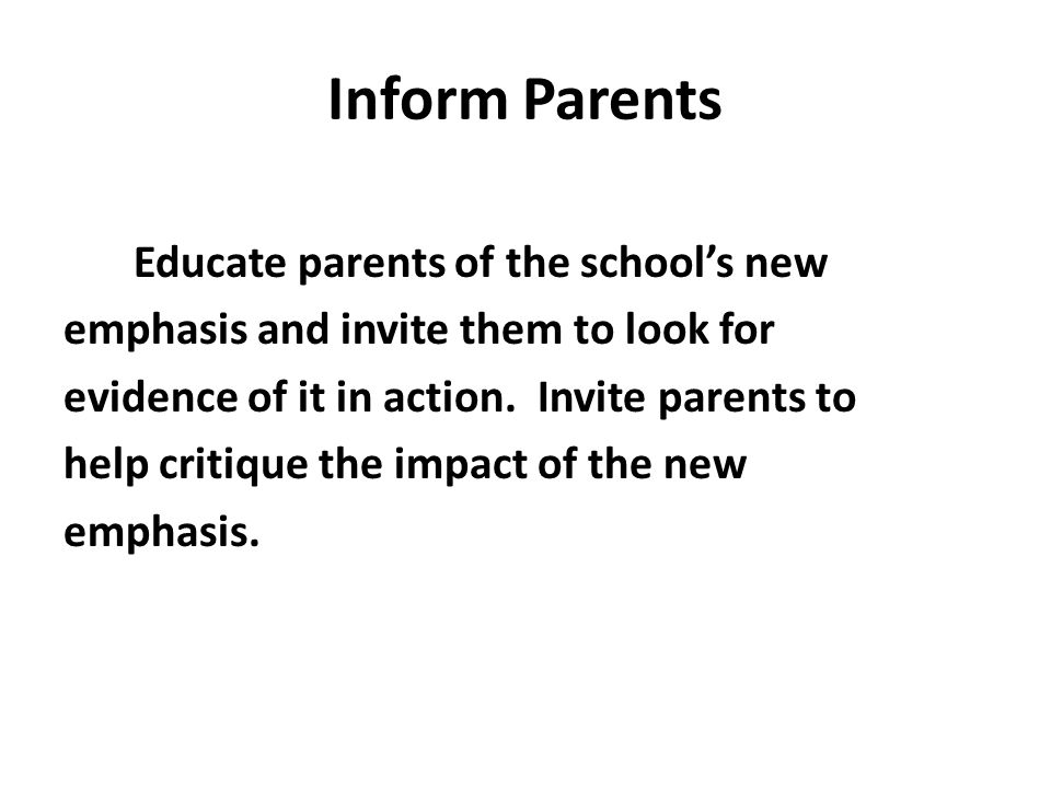 Inform Parents