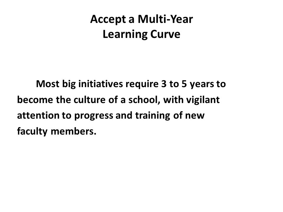 Accept a Multi-Year Learning Curve