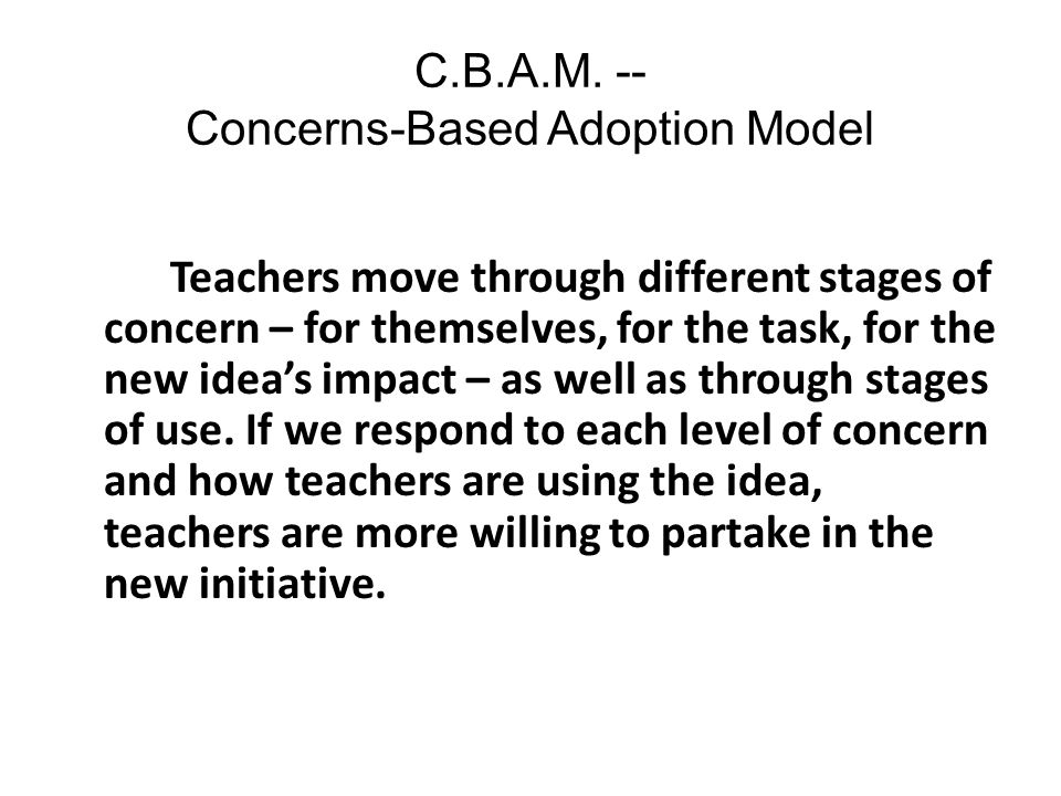 C.B.A.M. -- Concerns-Based Adoption Model