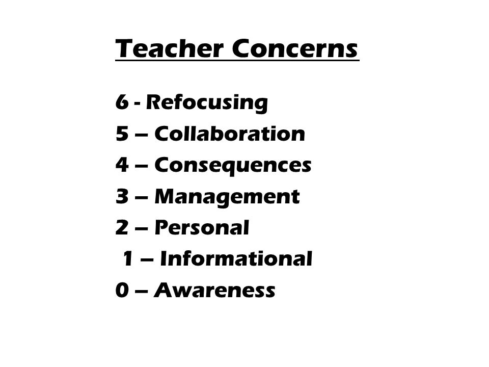 Teacher Concerns 6 - Refocusing 5 – Collaboration 4 – Consequences