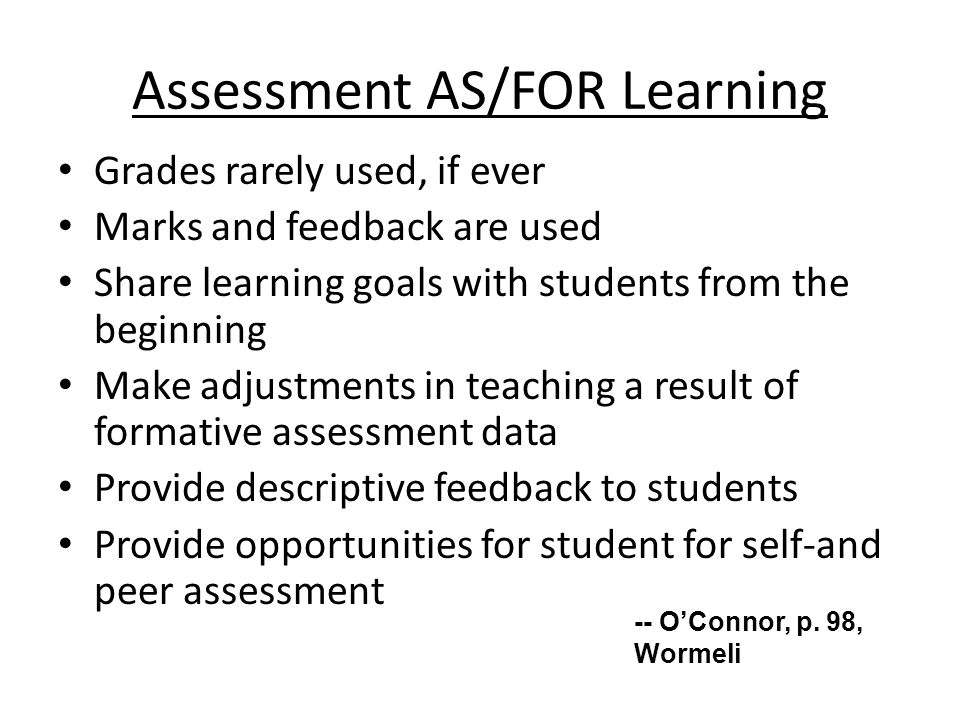 Assessment AS/FOR Learning