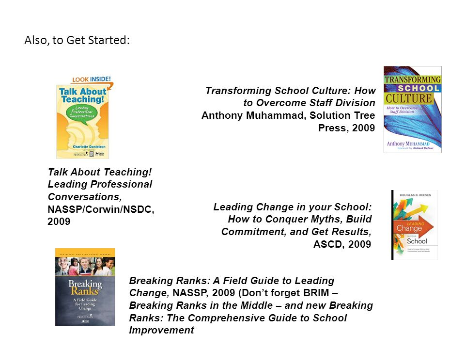 Also, to Get Started: Transforming School Culture: How to Overcome Staff Division. Anthony Muhammad, Solution Tree Press, 2009.