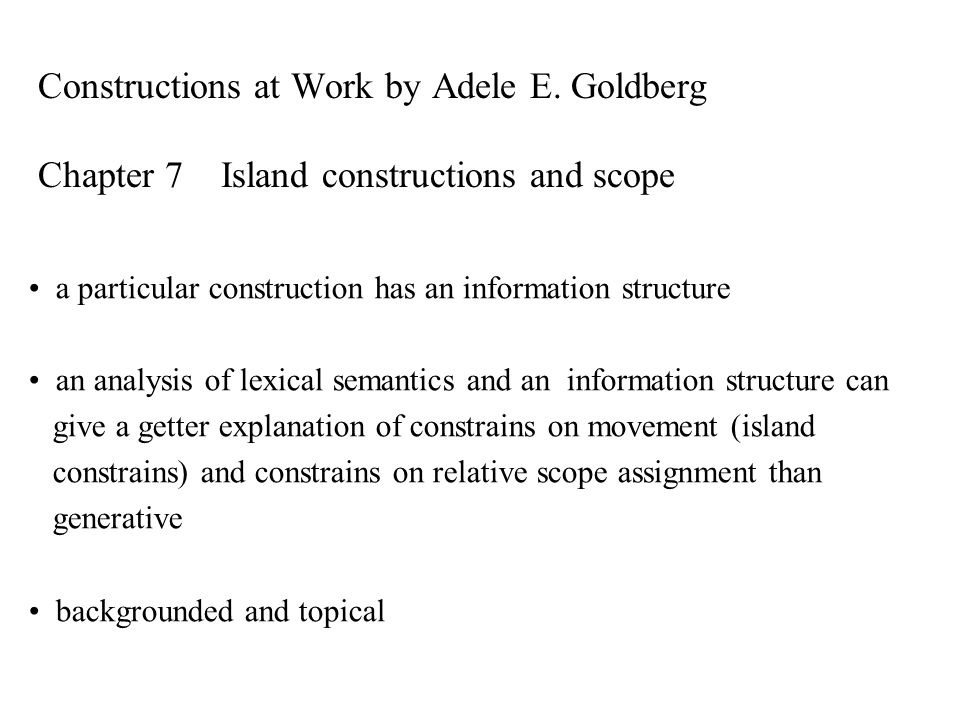 Constructions at Work by Adele E