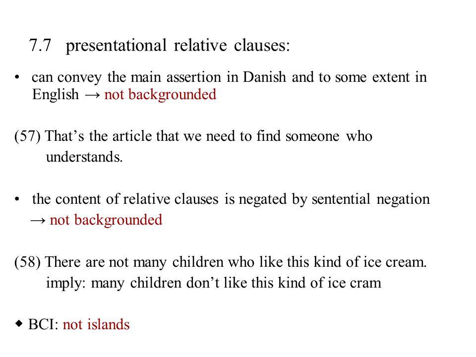 7.7 presentational relative clauses: