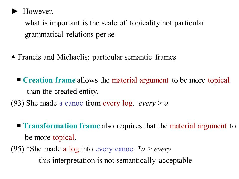 ► However, what is important is the scale of topicality not particular. grammatical relations per se.