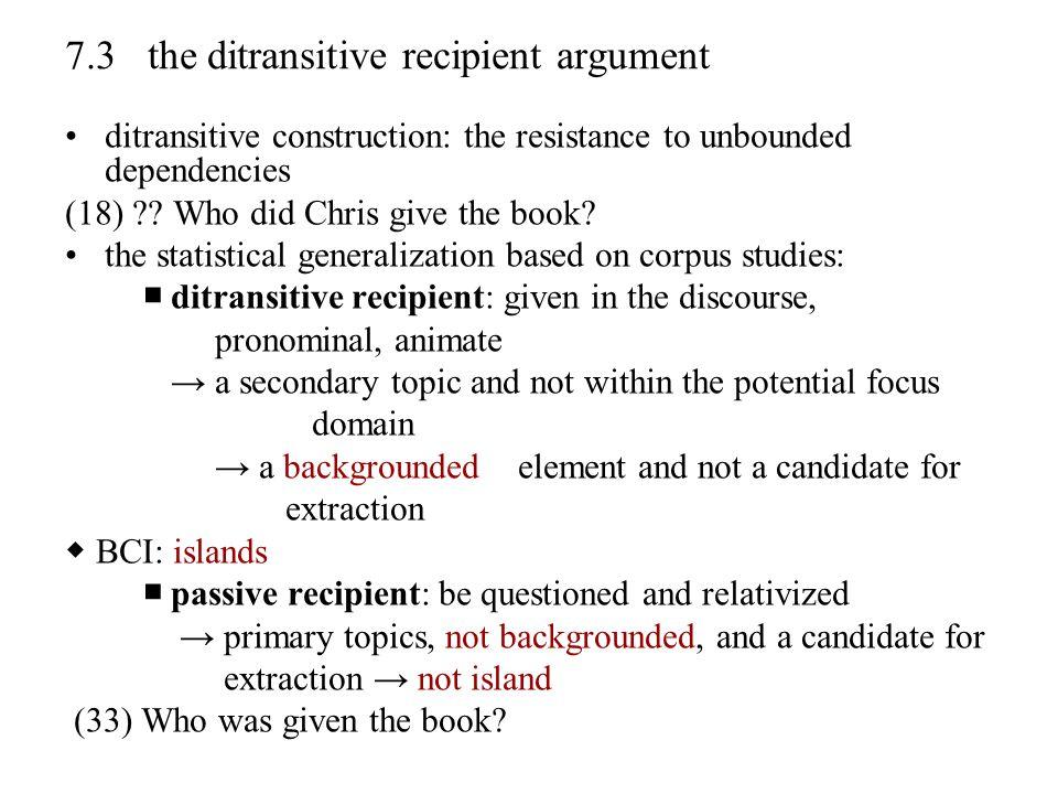 7.3 the ditransitive recipient argument