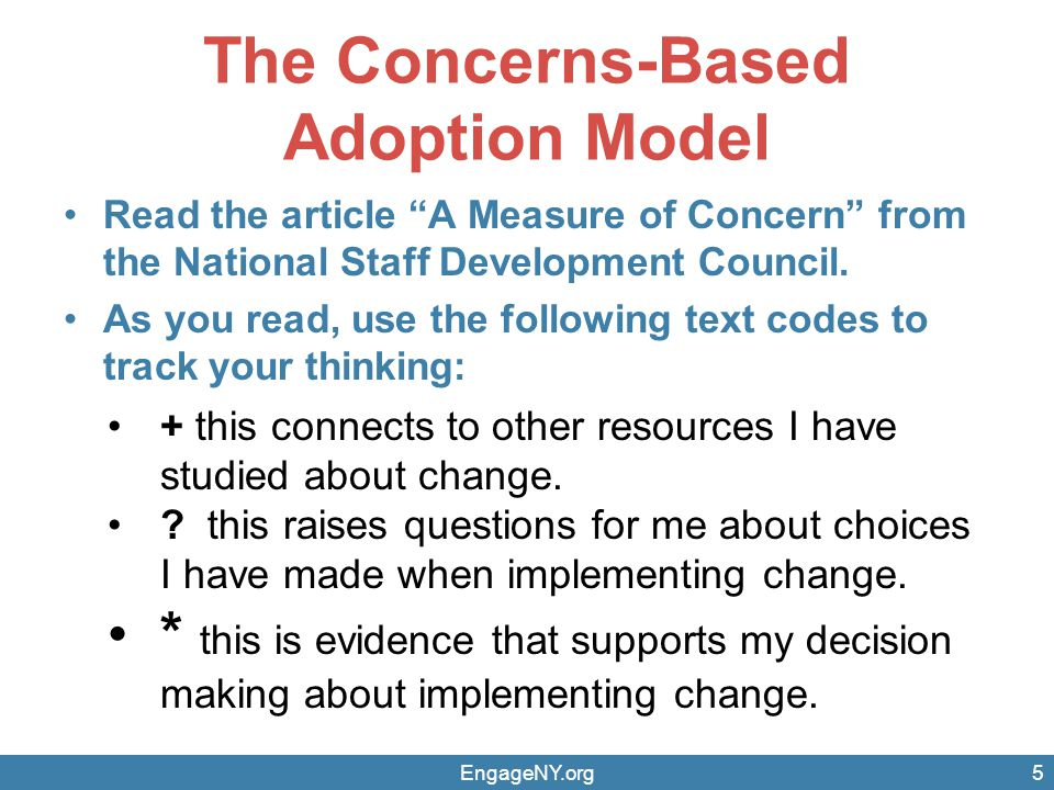 The Concerns-Based Adoption Model