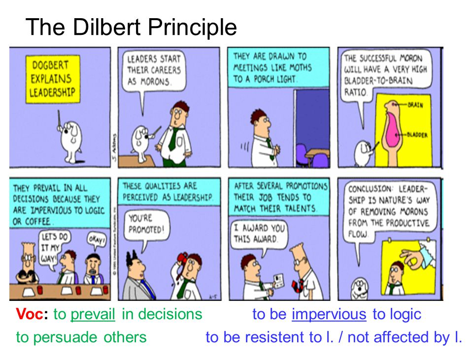 The Dilbert Principle Voc: to prevail in decisions to be impervious to logic.