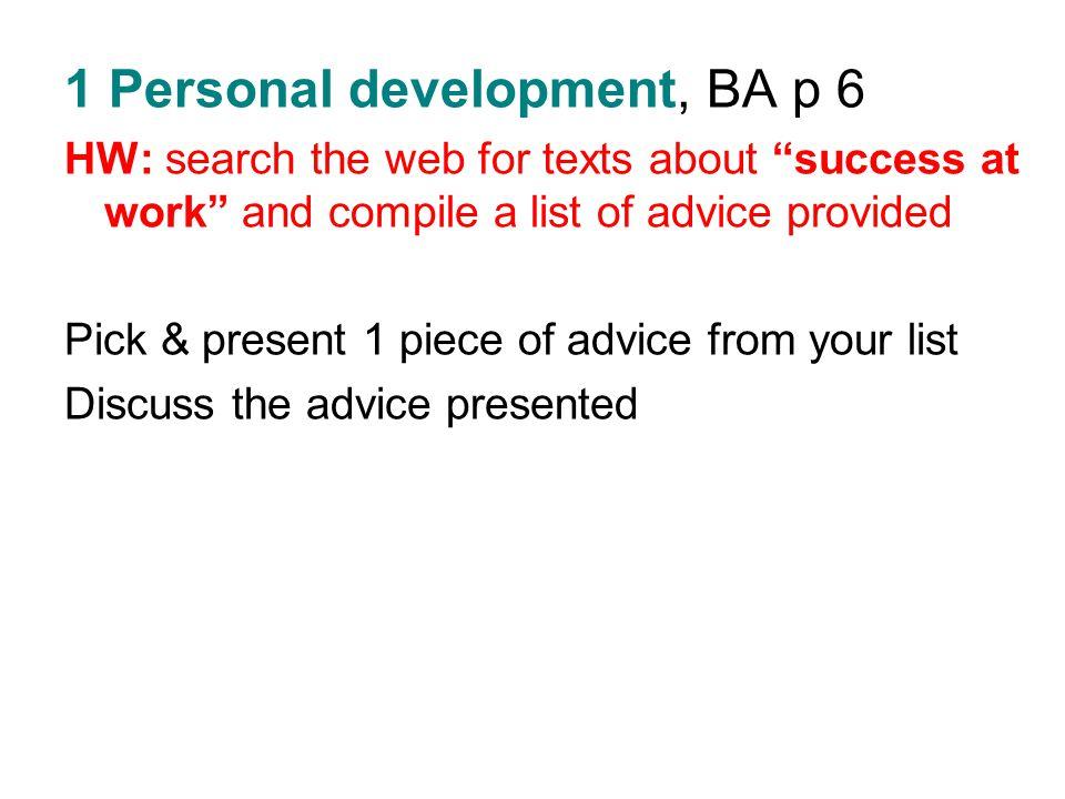 1 Personal development, BA p 6
